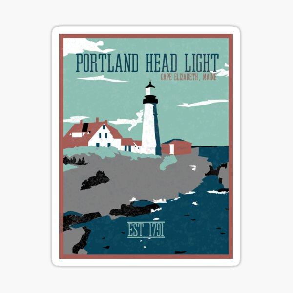 Portland Head Light Retro Travel Poster Sticker Sticker