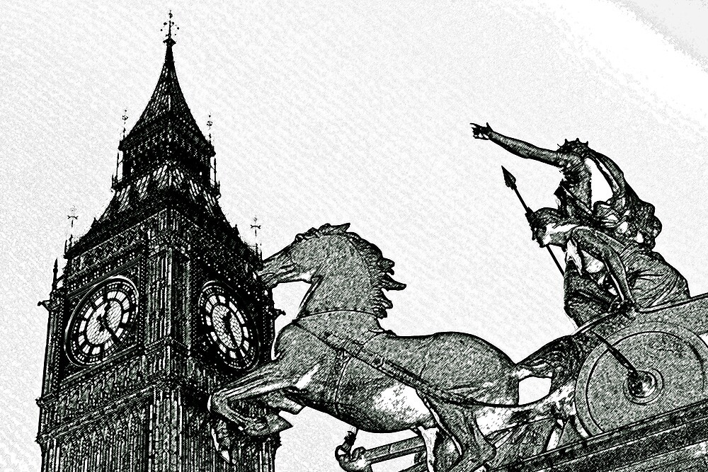 Big ben and Boadicea Statue With Charcoal Effect by DavidHornchurch