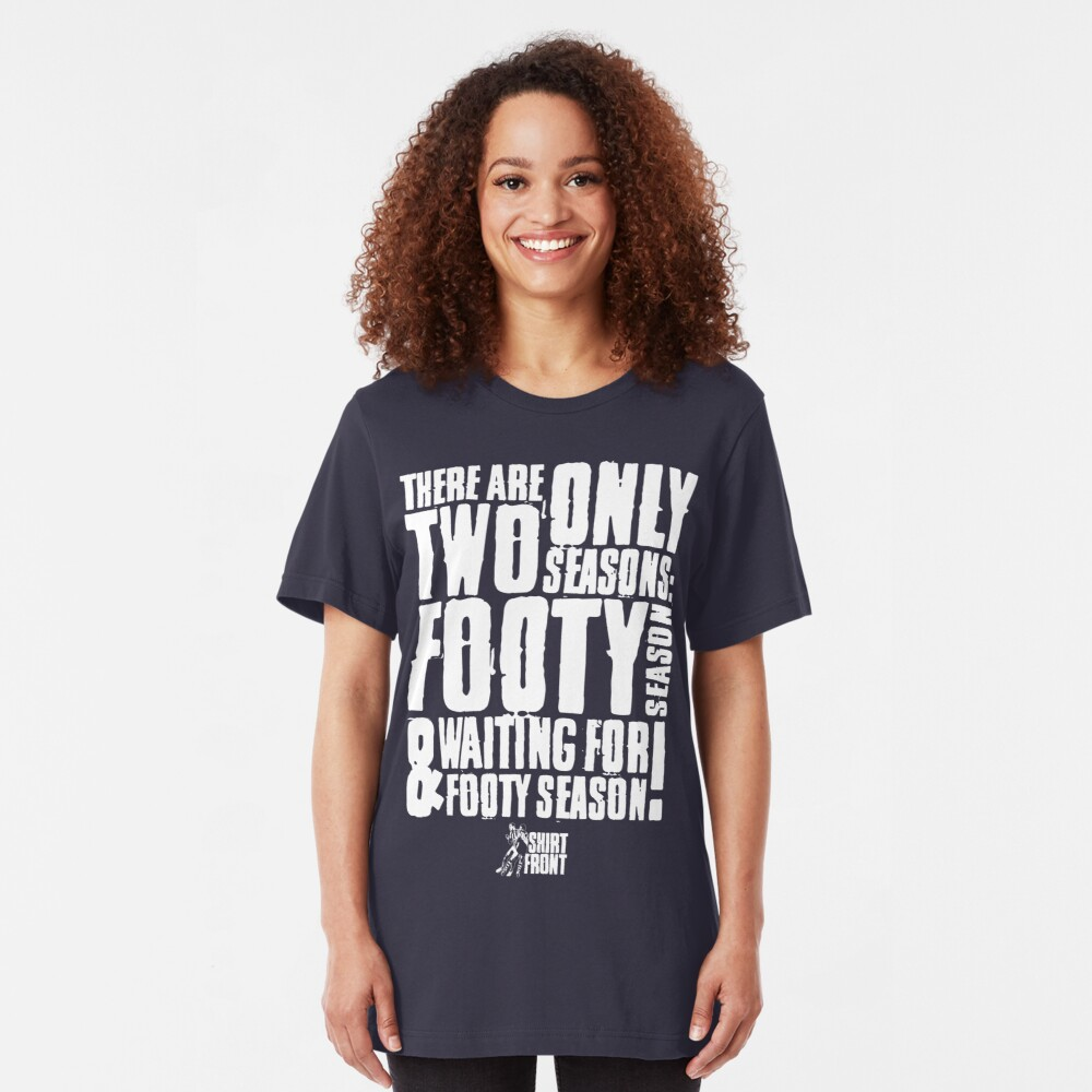 Two Seasons: White on Navy Slim Fit T-Shirt