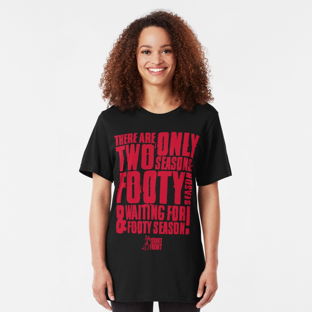 Two Seasons: Red on Black Slim Fit T-Shirt