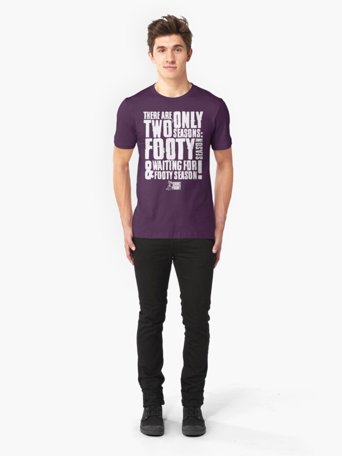 Alternate view of Two Seasons: White on Purple Slim Fit T-Shirt
