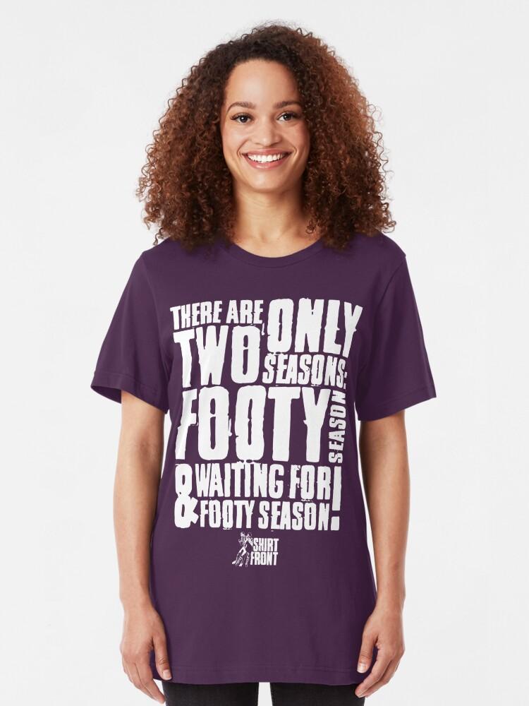 Alternate view of Two Seasons: White on Purple Slim Fit T-Shirt