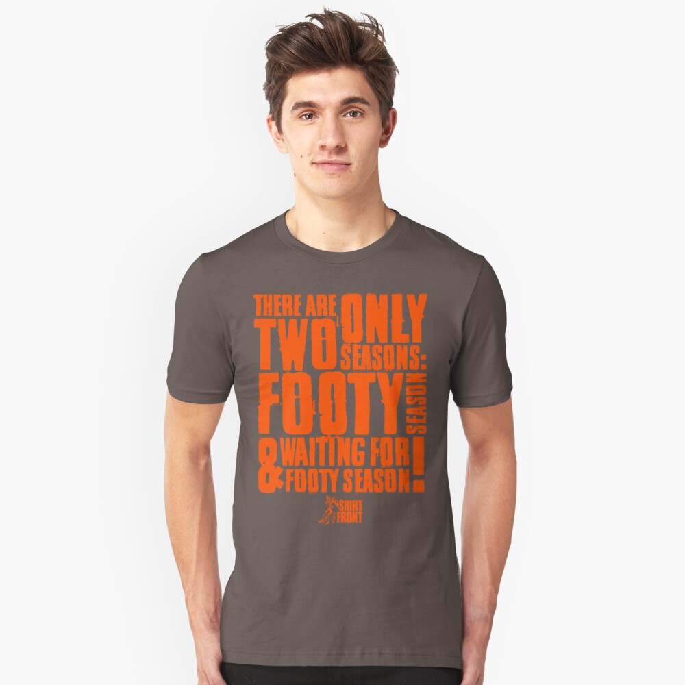 Two Seasons: Orange on Grey Slim Fit T-Shirt