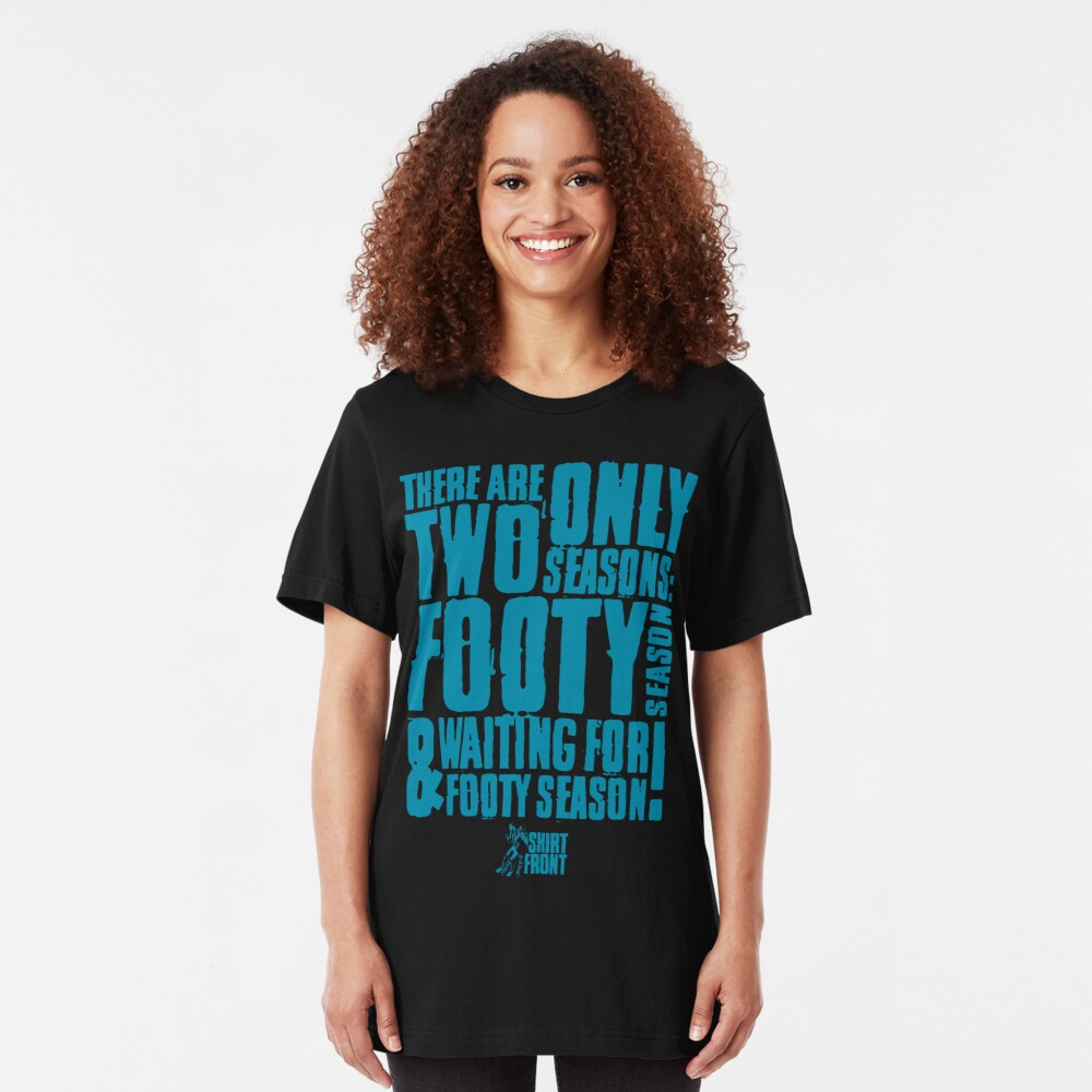 Two Seasons: Teal on Black Slim Fit T-Shirt