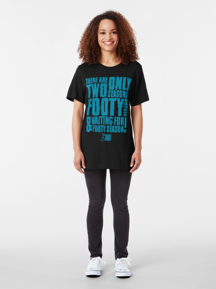 Alternate view of Two Seasons: Teal on Black Slim Fit T-Shirt