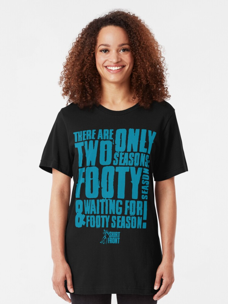 Alternate view of Two Seasons: Teal on Black Slim Fit T-Shirt