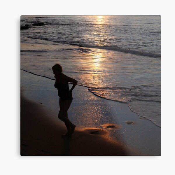 Caribbean Sunset Swim Metal Print