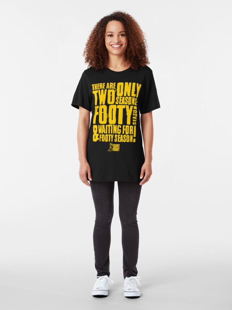 Alternate view of Two Seasons: Yellow on Black Slim Fit T-Shirt