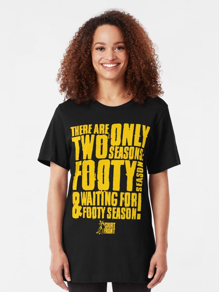 Alternate view of Two Seasons: Yellow on Black Slim Fit T-Shirt