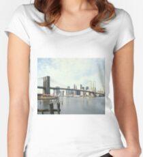 Camiseta entallada de cuello redondo Brooklyn Bridge and Manhattan Photograph