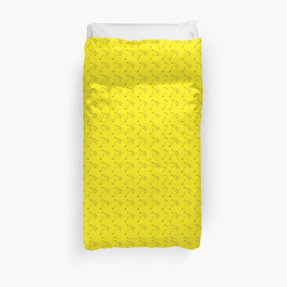 Cute birds animals yellow pattern Duvet Cover