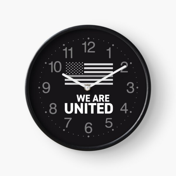 We are United with USA flag Thin Silver Line Correctional Officers American Patriotism Teamwork Quote black background HD Clock