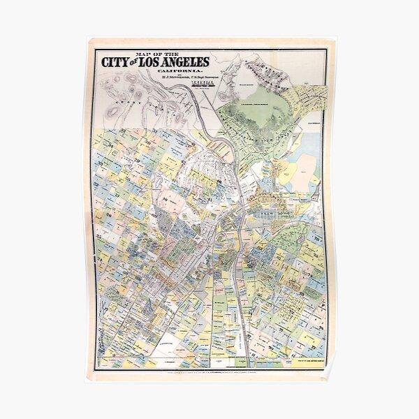 Carte vintage de Los Angeles CA (1884) Poster