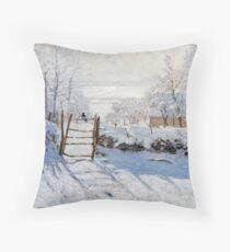 The Magpie - Claude Monet - 1869 Throw Pillow