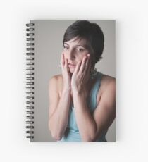 Studio shot of a female model in her 20s on white background  Spiral Notebook