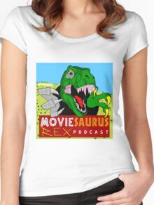 The Moviesaurus Rex Podcast Cover Art Women's Fitted Scoop T-Shirt