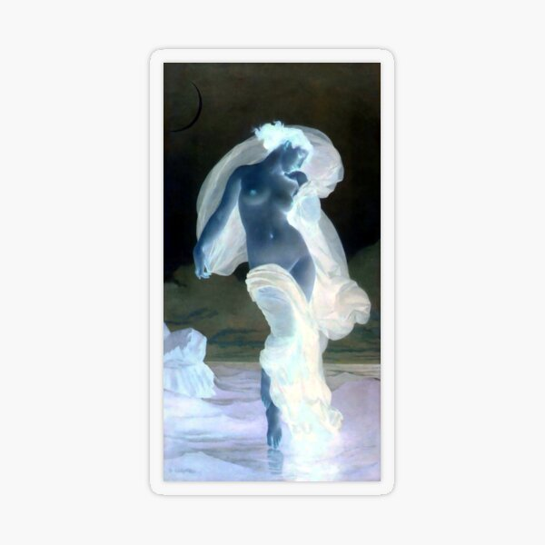 Evening Mood painting by William-Adolphe Bouguereau Transparent Sticker