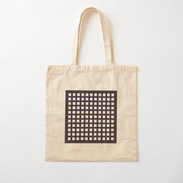 PLAID SERIES Thick dark blue grid pattern Cotton Tote Bag