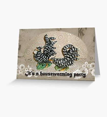Housewarming Invitation - Black and White Chickens Figurines Greeting Card