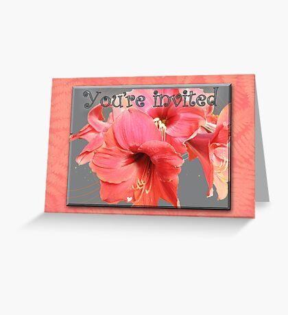 Party Invitation - Amaryllis Flowers Greeting Card