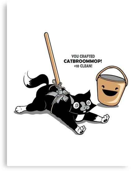 Cat Broom Mop | Geek Retro Gamer by BootsBoots