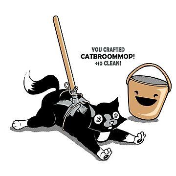 Cat Broom Mop   Geek Retro Gamer von BootsBoots