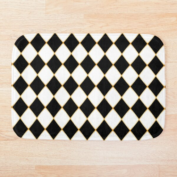 Abstract Chess Board Seamless Pattern with Gold Frame Bath Mat
