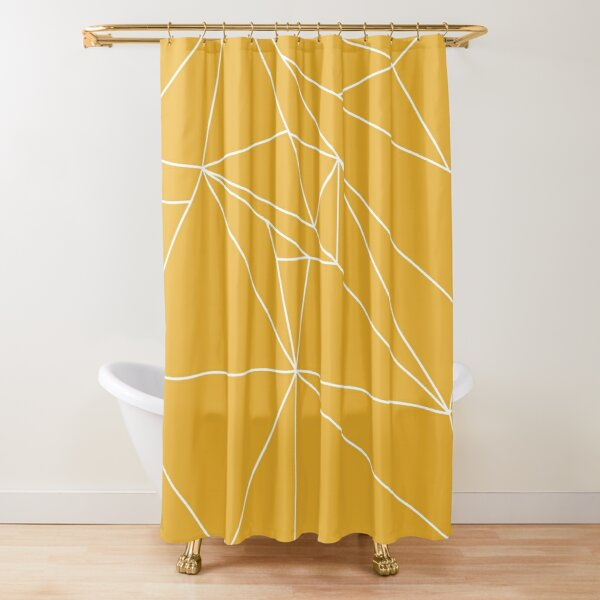 Yellow And White Geometric Lines Shower Curtain By Shadowbright Redbubble