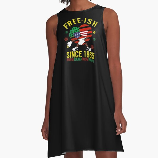 Free-ish Since 1865 Juneteenth Day Celebration Flag Black Pride Dabbing Heart with USA American Flag Cute Gift A-Line Dress