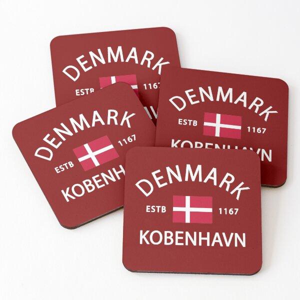 Denmark Flag Set of 4 Coasters