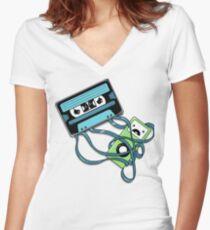 The Comeback | Retro Music Cassette Vs iPod Women's Fitted V-Neck T-Shirt