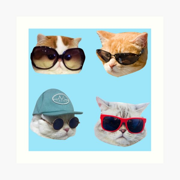 Cats With Glasses Stickers Pack Art Print
