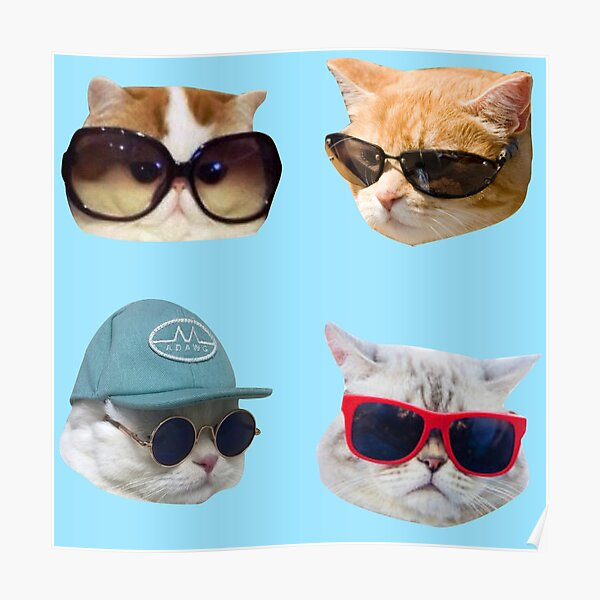 Cats With Glasses Stickers Pack Poster