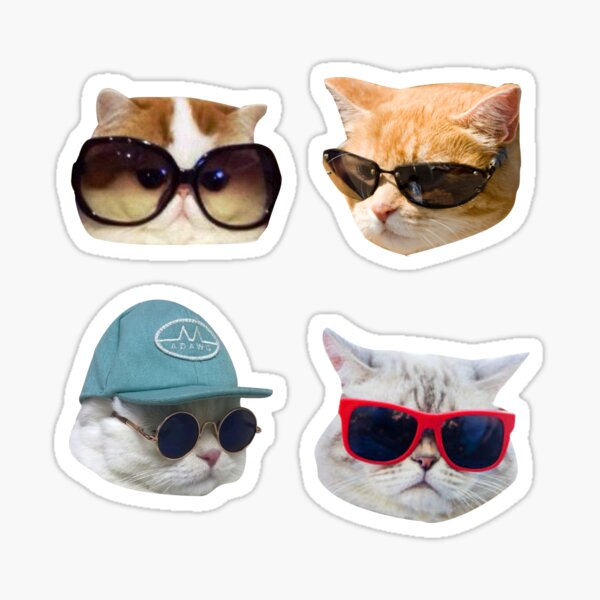 Cats With Glasses Stickers Pack Sticker