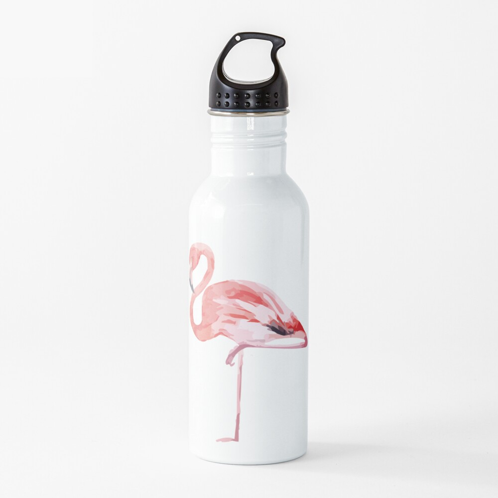 Watercolor Standing Flamingo Water Bottle