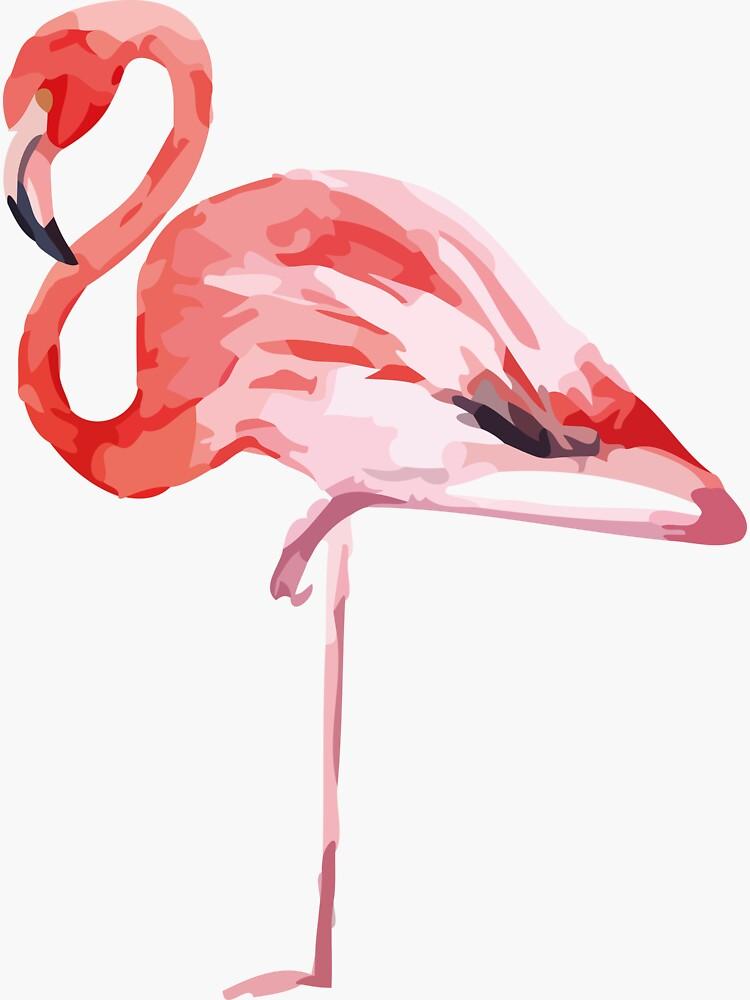 Watercolor Standing Flamingo by doriens
