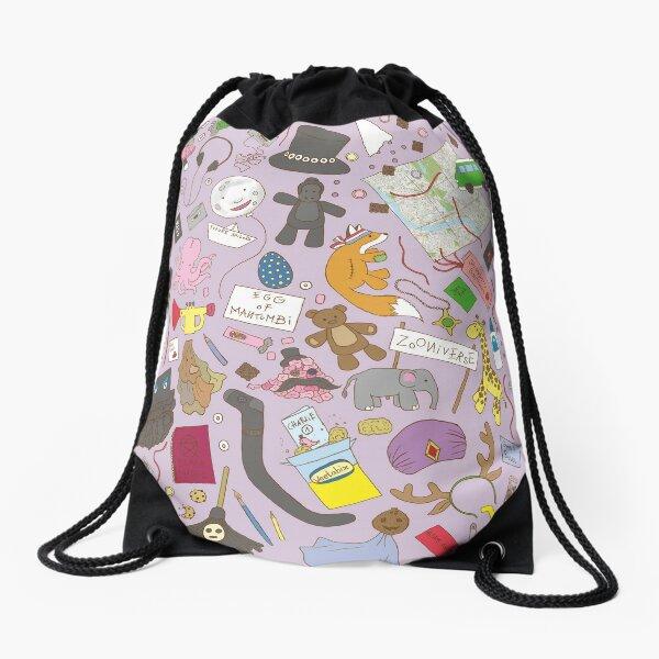 Boosh pattern purple Drawstring Bag