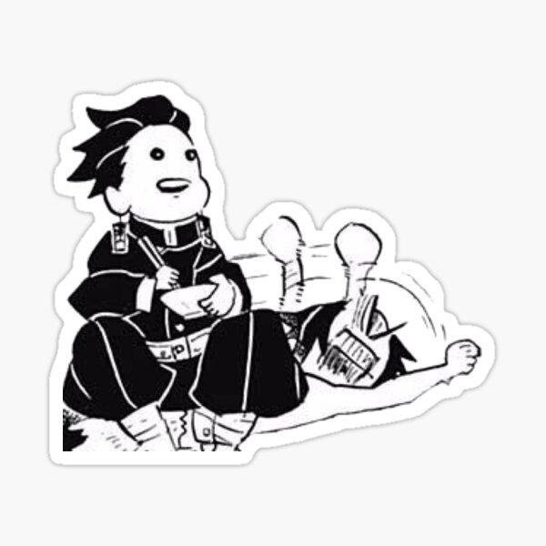 Tanjiro Sitting on Inosuke Demon Slayer Manga Cap Sticker