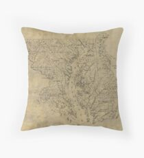 Vintage Map of Maryland (1893) Throw Pillow