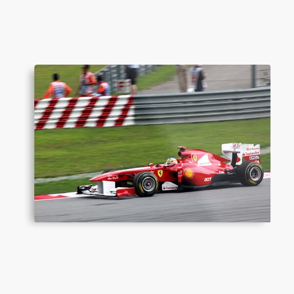 Fernando Alonso in his Ferrari  Metal Print