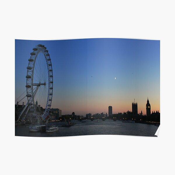 London Eye, Big Ben and Westminster Bridge, London Poster