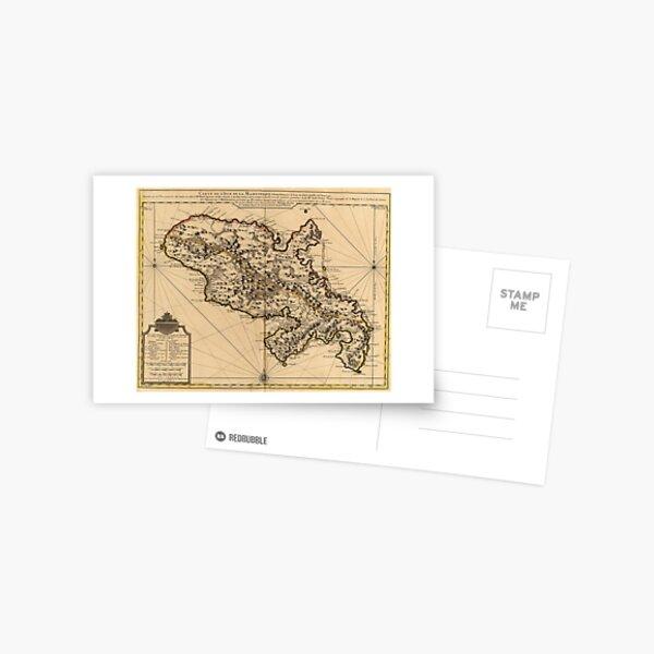 Carte vintage de l'île de la Martinique (1742) 2 Carte postale