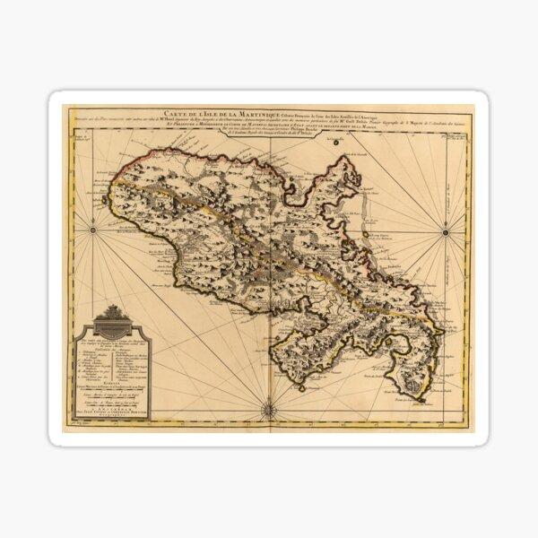 Carte vintage de l'île de la Martinique (1742) 2 Sticker