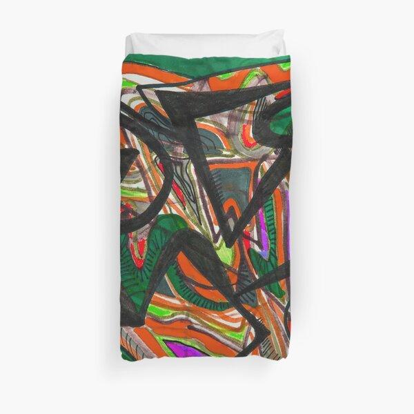 Orange green abstract design Duvet Cover