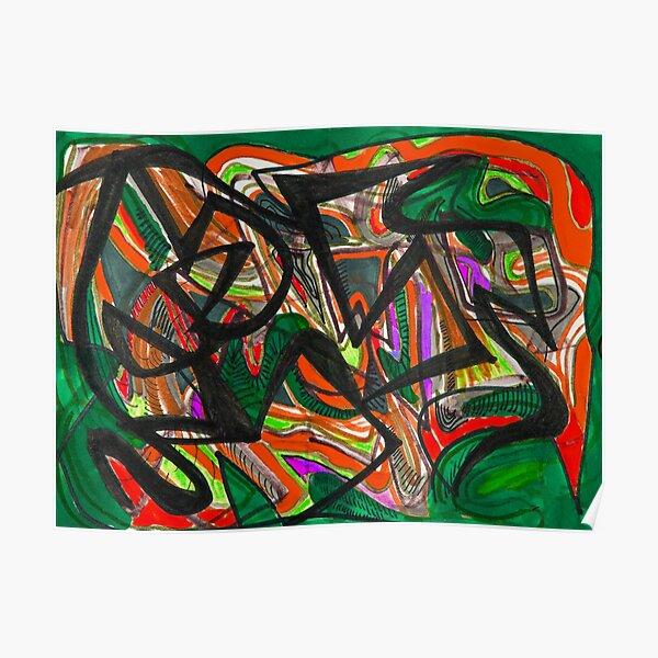 Orange green abstract design Poster