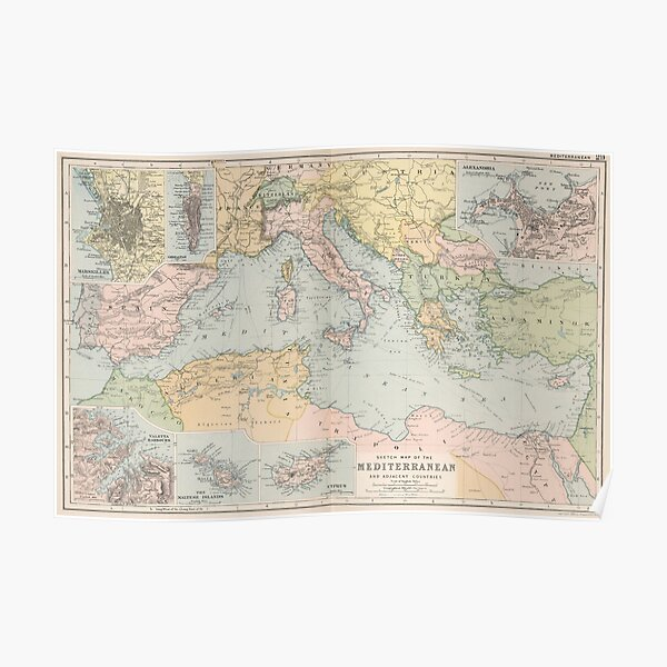 Vintage Map of The Mediterranean Sea (1891) Poster