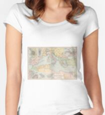 Vintage Map of The Mediterranean Sea (1891) Women's Fitted Scoop T-Shirt