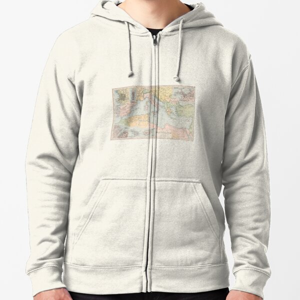 Vintage Map of The Mediterranean Sea (1891) Zipped Hoodie