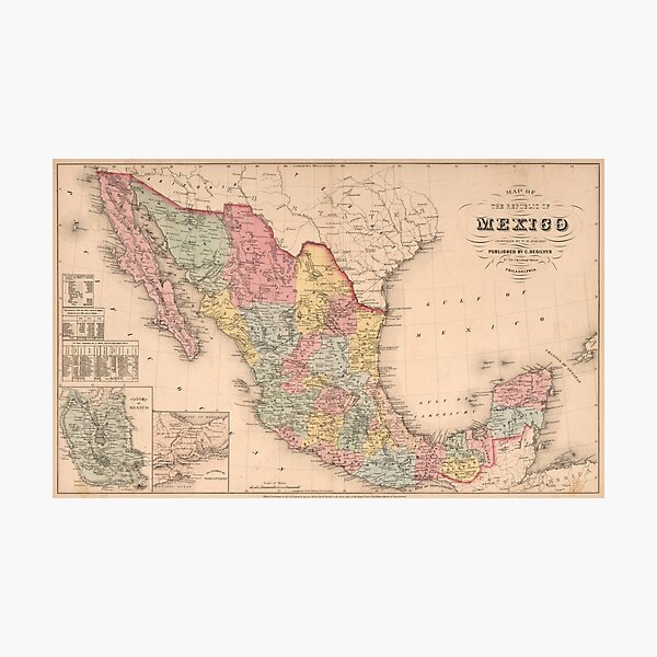 Vintage Map of Mexico (1859) Photographic Print