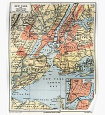 Póster Vintage Map of The New York City Vicinity (1890)